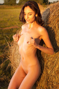 Magnificent tanned babe seductively poses by the hay