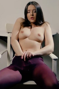 Hot young girl Sybil A is teasing her tight pussy wearing only purple pantyhose