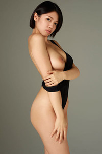 Well curved Asian babe moves away her black bodysuit so you can check her secret places