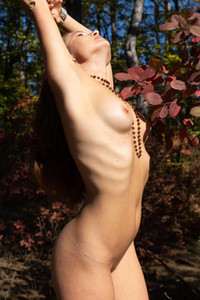 Sweet brunette strips off her clothes presenting us her amazing perfectly shaped body