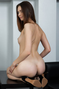Small titted brunette looking good while she is taking off her clothes and posing sensually for you
