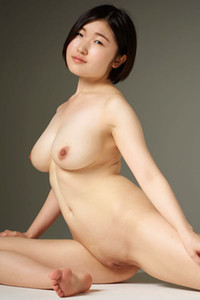 Sweet Asian doll Hinaco presents her pale and petite curvy body
