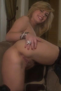 Top class blonde Tara Lynn Foxx bends over and starts teasing her meaty pussy nicely
