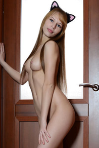 Stunning young doll Alma sensually poses and presents her perfect pale body