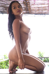 Exotic Latina beauty Liloo takes her black bodysuit off and shows her perfect body