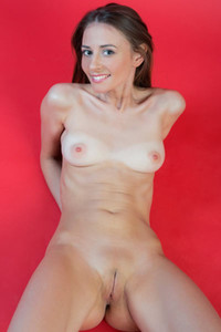 All natural and beautiful brunette poses completely naked presenting her tight body and perky tits
