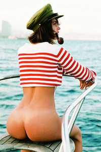 All natural brunette Johanne Landbo looking good while she is posing naked on the boat