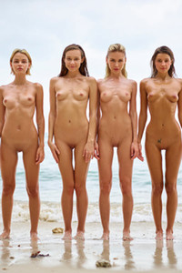 Ariel and her three burning hot friends pose naked together on the beach