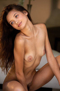 Alex De La Flor young and pretty brunette takes her silver dress off revealing her hairy pussy