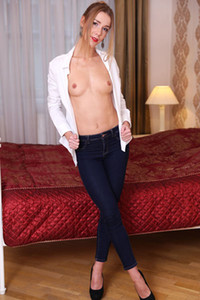 Sweet brunette Alexis Crystal is taking off her white blouse and tight jeans