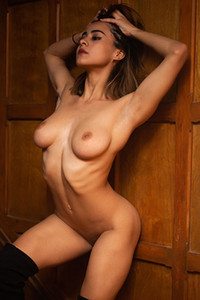 Top class model gets her clothes off on the stairs revealing just perfect natural body curves