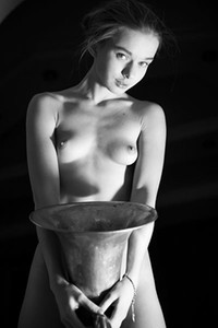 Even in black and white expression Milena Angel looks amazing without her clothes