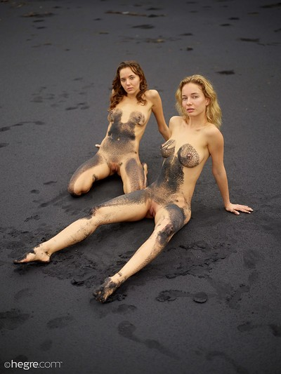 Clover and Natalia A in Black beach Bali from Hegre Art