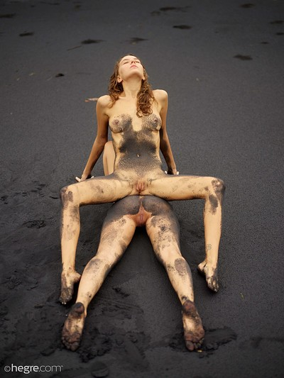 Clover and Natalia A in Black beach Bali from Hegre Art