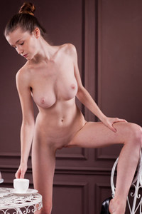 Stunning brunette dazzles us with her nubile body and super smooth and fair skin