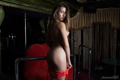 Olga Alberti in Red Bodysuit from Bella Da Semana