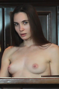 Perky titted lady Lola Cherie is wearing transparent skirt letting us see her tight pussy and ass
