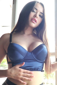 Good looking brunette Li Moon looks so sexy in tight blue lingerie