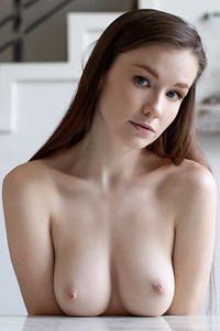 Good looking brunette Emily Bloom strips off her lingerie showing off her amazing natural body