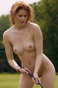 Ginger hottie with amazing natural body Heidi Romanova shows us the sexiest way to play golf