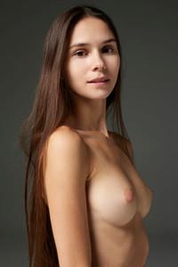 Adorable brunette sweetie shows off her sweet slender pale skinned body