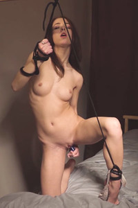 Burning hot Nata plays with ropes and makes her pussy satisfied