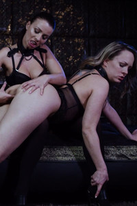 Two kinky chicks in sexy black lingerie getting wild with each others pussy