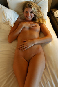 Cute girl with natural curves Presley Callen lets you come into her room and enjoy her naked body