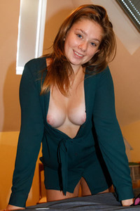 Innocent looking brunette in green sweater teasing with her pussy and tits all over her big house