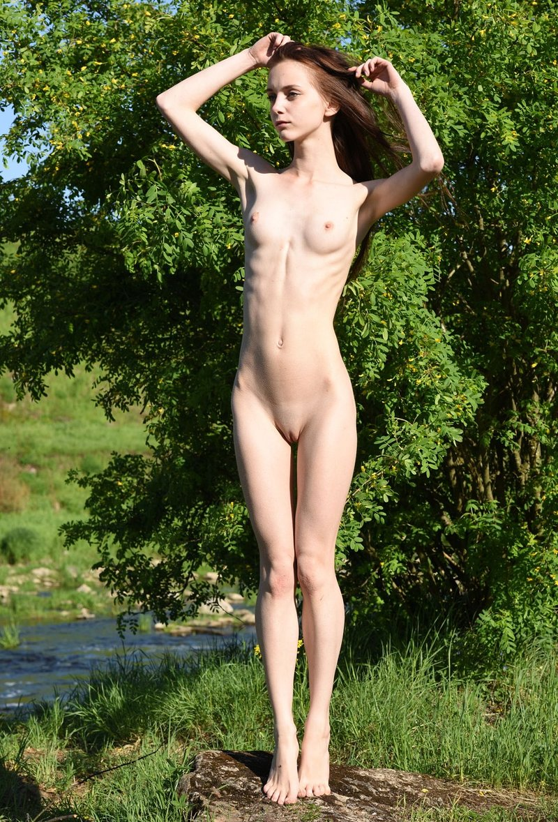 Skinny Naked Bikini Girl Outdoors