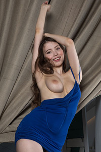 Top class girl Suok looks so good while she is slowly taking off her tight blue dress