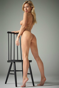 Stunning Blonde Darina L posing with her magnificent smooth body in front of the camera